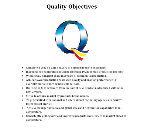 quality objectives template quality objective frisch