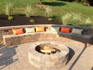 backyard entertaining area outdoor built in fire pit with