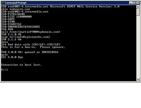 test smtp server how to test email flow using smtp commands