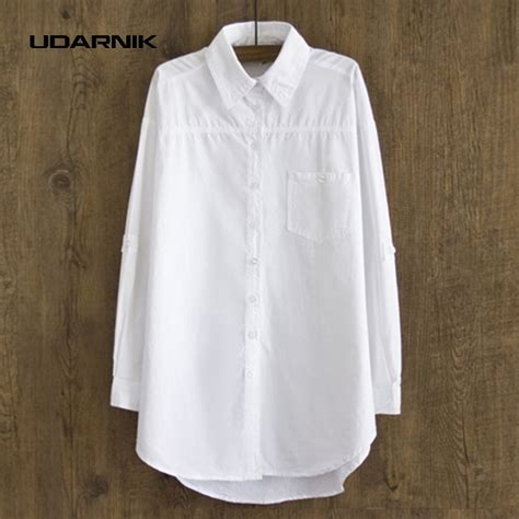 Grosir Baggy Style Baggy Polos womens white cotton blouse oversized boyfriend style baggy shirt sleeves turn