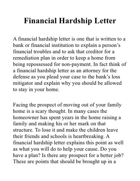 Hardship Letter To Bank Exle Financial Hardship Letter