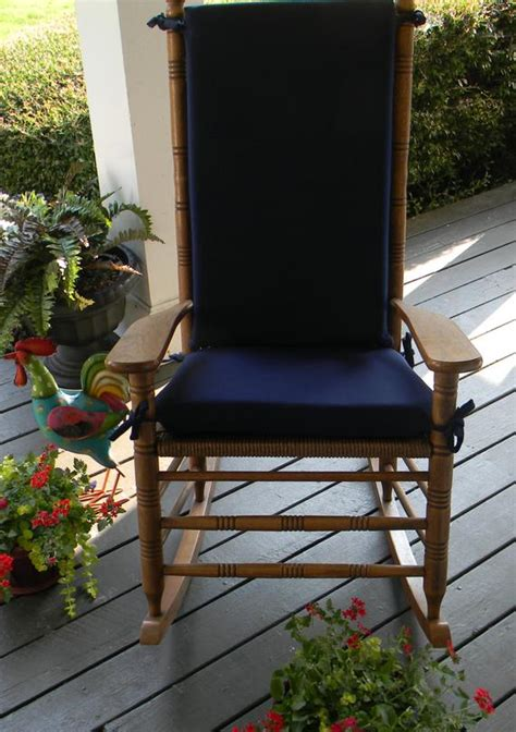 Cracker Barrel Rocking Chair Cushions - indoor outdoor solid navy blue rocking chair 2 pc