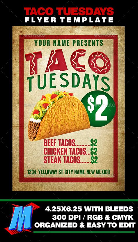 Taco Tuesdays Flyer Template By Megakidgfx Graphicriver Taco Flyer Template