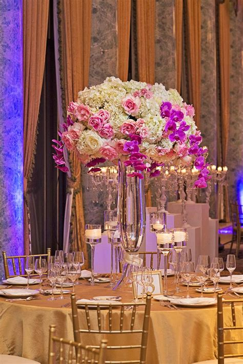 the gallery for gt gold and purple wedding centerpieces