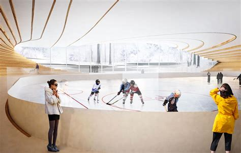 design form ice resurfacer big architects ice hockey rink in umea