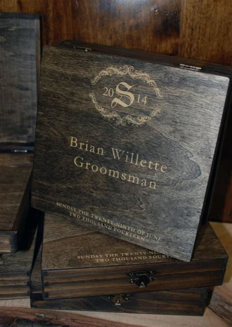 2 laser engraved cigar boxes groomsmen gifts walnut stain