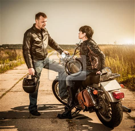 Y E Biker World by Bikers Couple Wall Mural Biker Wallpaper Murals