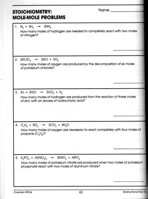 Stoichiometry Problems Worksheet