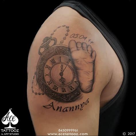 tattoo feather clock baby foot mark clock tattoo ace tattooz