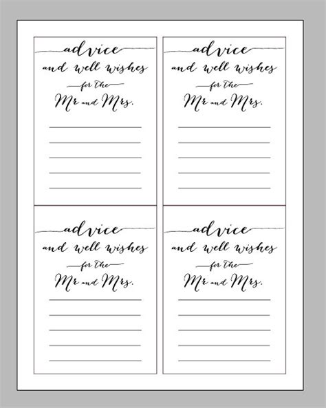 printable digital wedding advice card wisdom and wishes