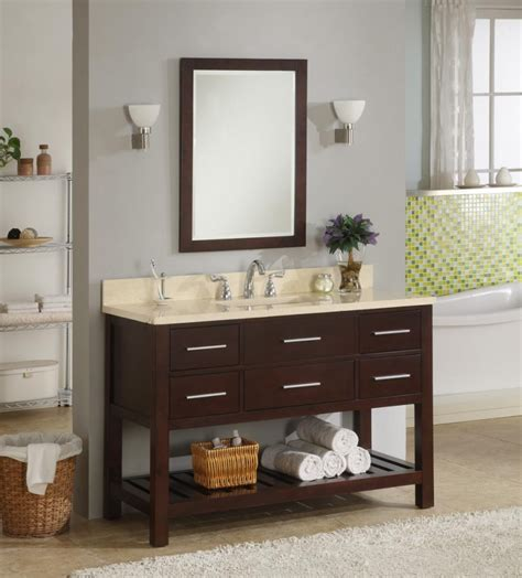 Bathroom Vanity With Shelf 48 Inch Single Sink Modern Cherry Bathroom Vanity With Open Shelf And Choice Of Counter Top Uveipr48