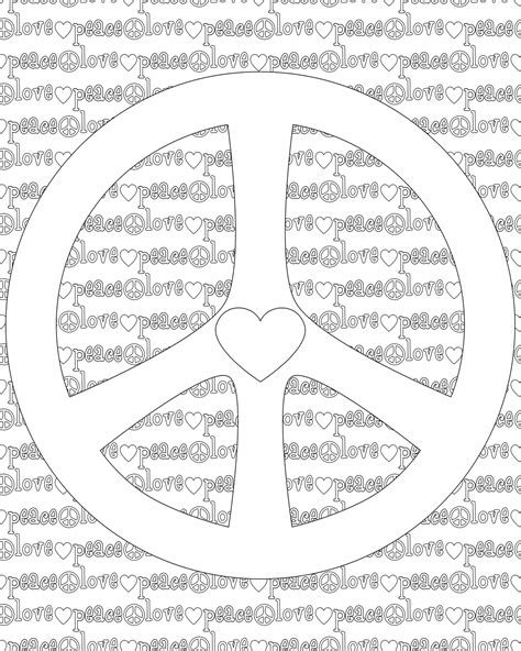 free coloring pages of peace and love