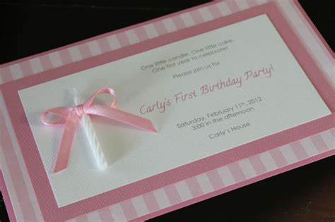 Handmade Birthday Invitation Cards - the candle attached to the invite for 1st bday so
