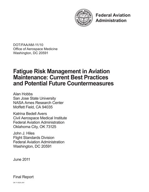 Pdf Fatigue Risk Management In Aviation Maintenance Current Best Practices And Potential Fatigue Management Policy Template