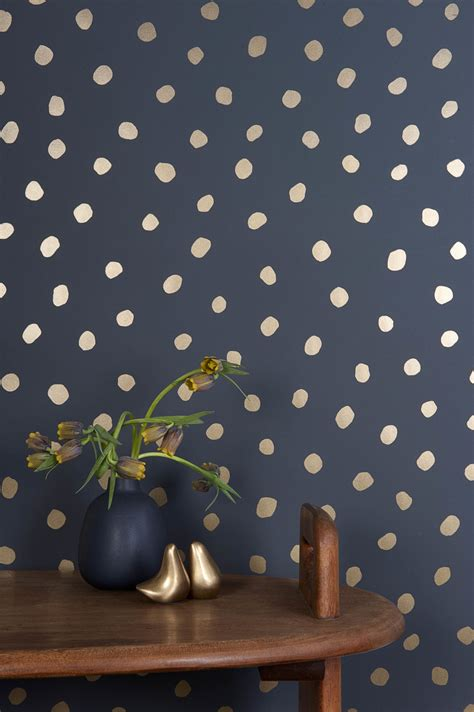 gold lines navy blue wallpaper polka dot walls will pop anywhere in your home