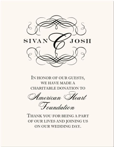 Wedding Donation Cards Wedding Favor Cards Donations As Wedding Favors Customized Wedding Favor Donation Has Been Made In Your Name Template