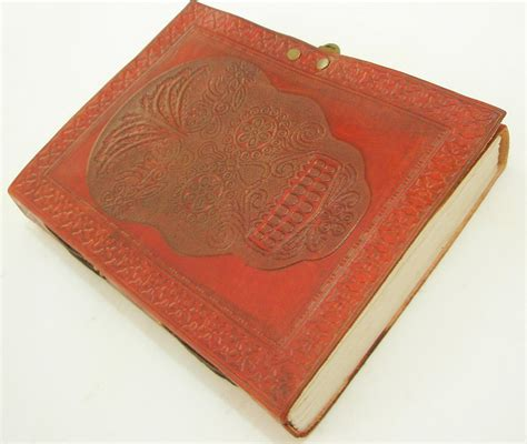 Handmade Leather Bound Journal - large handmade leather bound journal day of the dead skull