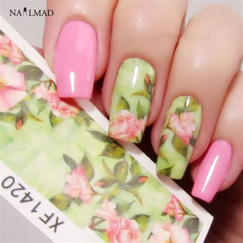 Floral Water Transfer Nail Stickers Stiker Kuku 1 sheet nail water decals chic floral transfer stickers flowers nail sticker decals