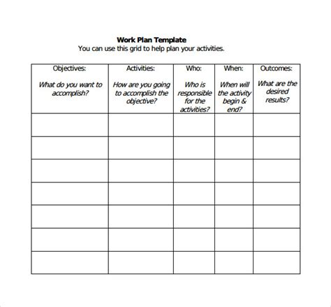 professional work plan template all categories filemaster