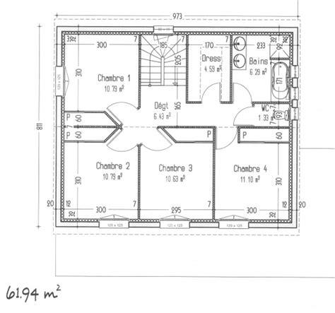 plan maison 4 chambres 騁age plan de chambre plan au sol plan de maison de plainpied