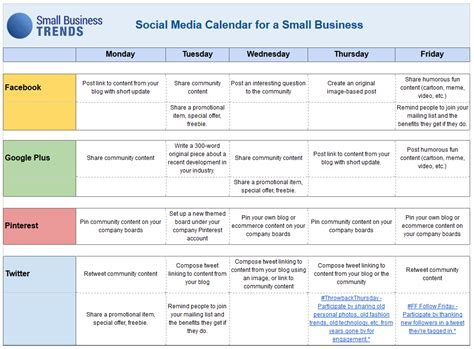 Social Media Schedule Template social media calendar template for small business