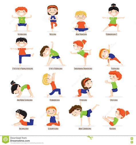 printable toddler yoga poses kids children yoga poses cartoon set download from over