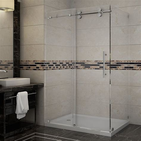 Lowes Shower Doors Sliding Shop Aston 48 In W X 75 In H Frameless Sliding Shower Door At Lowes