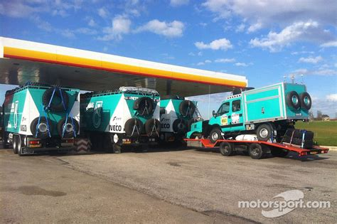 The IVECO trucks of Team de Rooy are prepared for the long