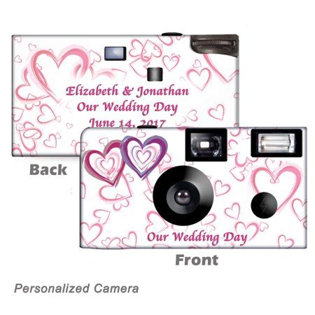 wedding hearts personalized disposable camera. 10 pack