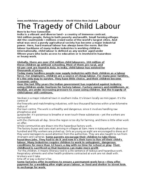 Child Labour Essay by Child Labour Essay In 300 Words Docoments Ojazlink