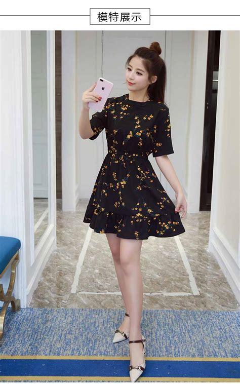 dress warna hitam motif bunga cantik model terbaru