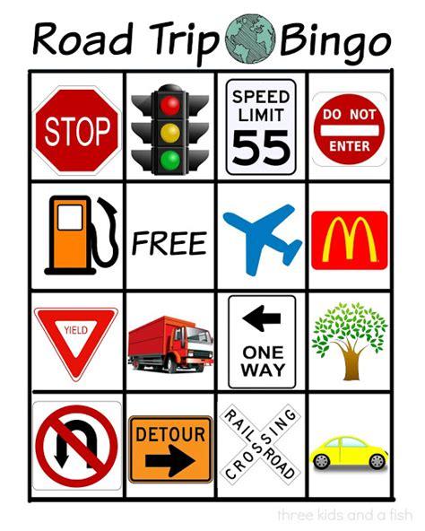 printable road sign bingo road trip bingo three kids and a fish