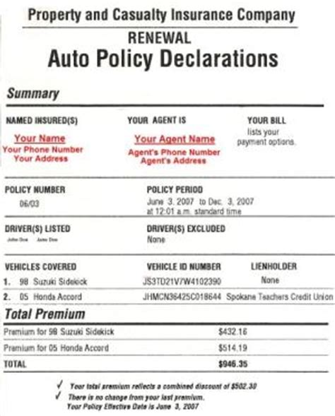 Auto Insurance Policies Release Date Price And Specs Insurance Declaration Page Template