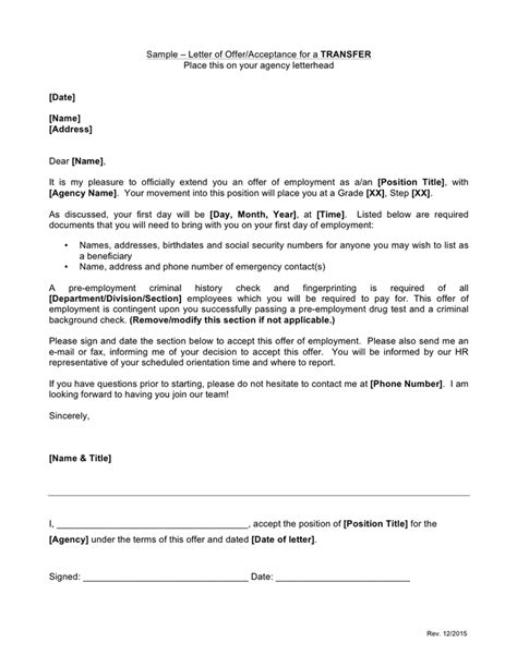 acceptance of appointment letter exle acceptance letter sle free documents for pdf
