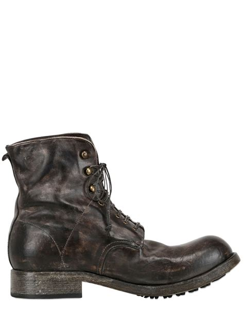 shoto washed vintage leather boots in brown for