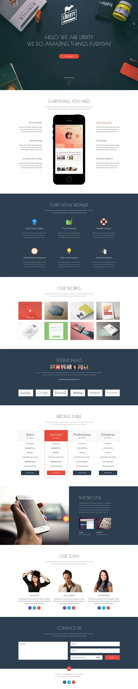liberty one page html template creative alys