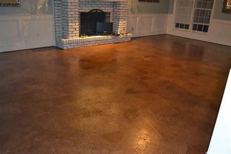stained concrete floor over wood subfloor wood flooring