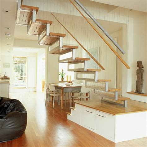 Living Room Stairs Ideas by Living Dining Room With Wooden Floor And Bespoke Staircase