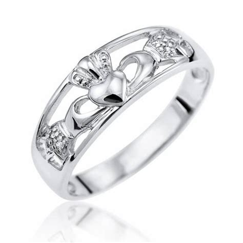 9ct white gold celtic claddagh ring free delivery