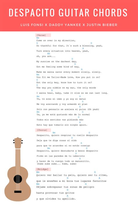 despacito chord guitar despacito guitar chords lyrics justin bieber remix