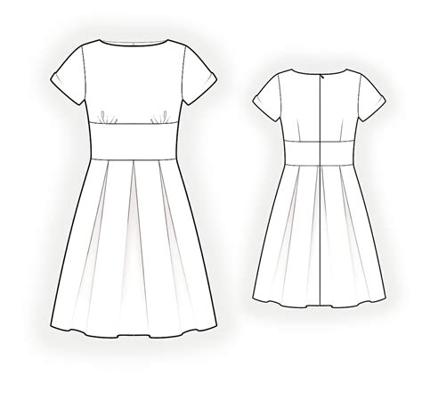 pattern drawing dress dress with pleats sewing pattern 4324 made to measure