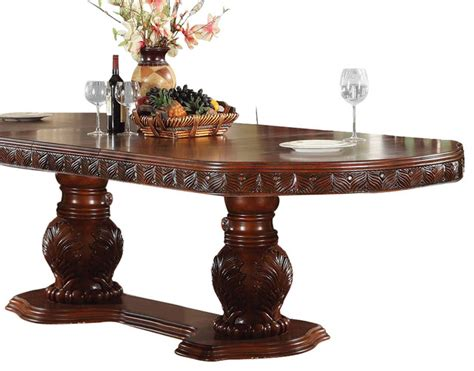 acme quinlan oval shaped pedestal table in cherry