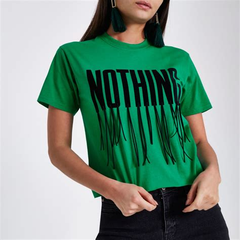 Tassel Cropped green nothing tassel cropped t shirt tops sale