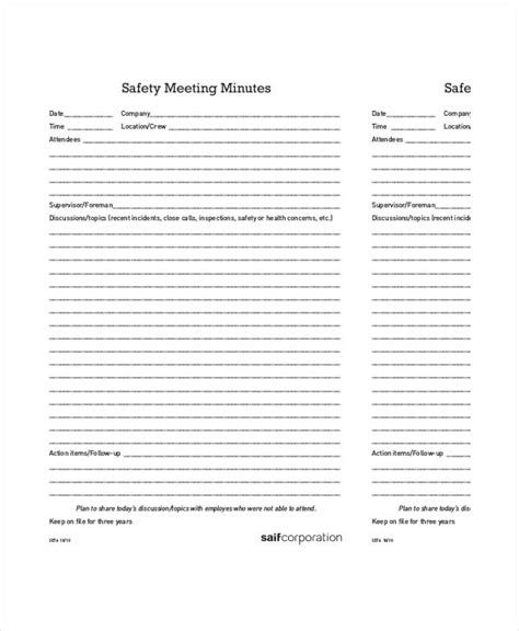 toolbox meeting minutes template awesome toolbox safety meeting template contemporary