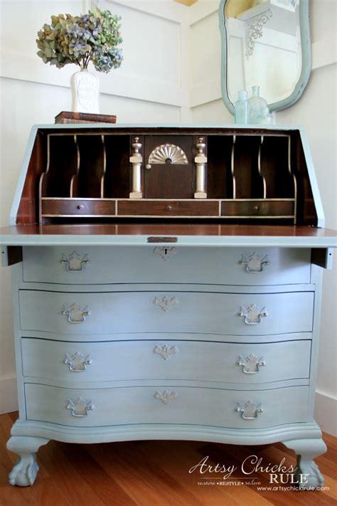 secretary desk makeover w duck egg blue 3 colored waxes