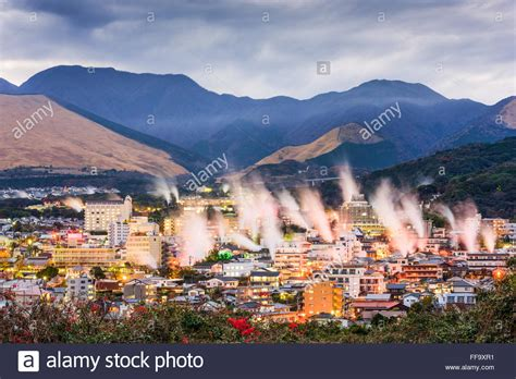 houses to buy in japan beppu japan cityscape with hot spring bath houses with rising steam stock photo