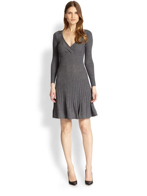 Dress Denim Cardigan Ka13215 lyst paule ka ribbed merino wool sweater dress in gray