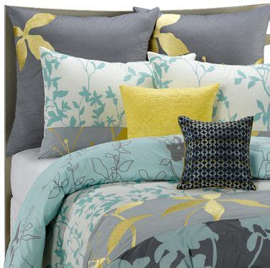 yellow gray and blue bedroom gray yellow blue bedding polyvore for the home