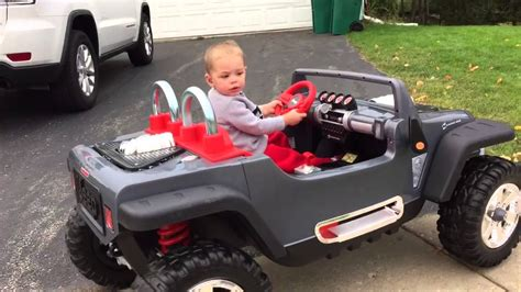 power wheels jeep white 2 year old drives power wheels jeep hurricane youtube