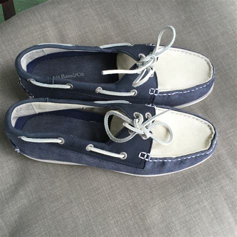 g h bass co blue and white canvas suede boat shoes 8 5